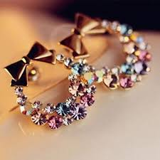 ear studs images fashion bowknot stud earrings for women colourful