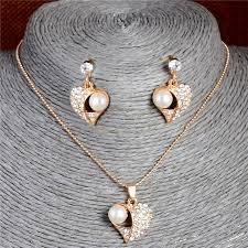 necklace earrings chain images H hyde amazing design women 39 s girl 39 s charming heart simulated jpg