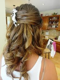 wedding hairstyle for long curly hair half up half down easy