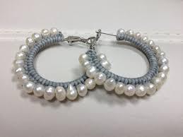 pearl hoop earrings boho pearl hoop earrings on luulla