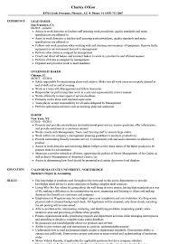 sample resume for bakery job baker resume example resumes parking lot attendant door to door