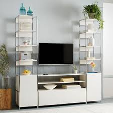 Console Bookshelves by Lacquer Storage Media Console Open Closed Storage West Elm