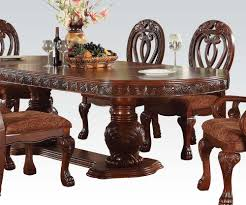 cherry dining room set acme quinlan oval shaped double pedestal table in cherry 60265 by