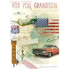 grandson birthday card vintage us cars u0026 route 66 size 8 x 5 75