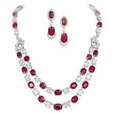 ruby necklace earrings images David morris set comprised of ruby necklace and earrings jpg