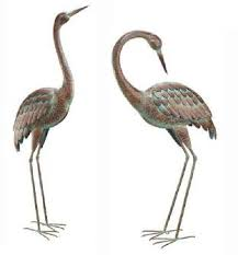 heron verdigris finished metal garden statuary set