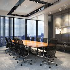 executive modern empty business office conference room overlooking