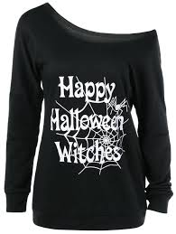 plus size letters print halloween t shirt black xl in plus size