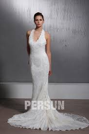 robe de mari e bicolore robe de mariée dentelle sirène trompette à col américain à traîne