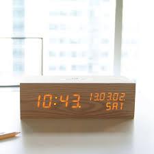 wood alarm clock led oak gingko eco touch of modern