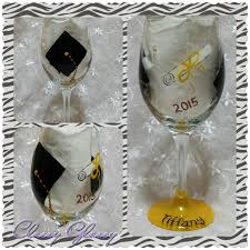 graduation wine glasses graduation painted wine glass classyglassy