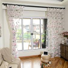 white floral pastoral embroidery elegant beads custom sheer curtains