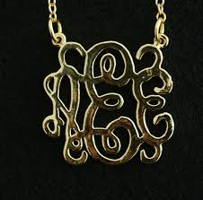 3 Initial Monogram Necklace Sterling Silver Handmade Monogram Necklace 3 Initial Necklace 18k Gold Sterling