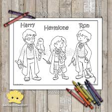 harry potter printable coloring harry ron hermione