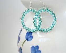 hoop beaded earrings beaded hoop earrings mint green silver wires on luulla