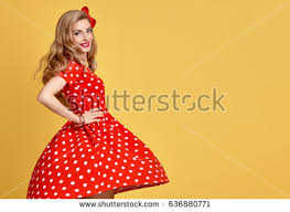 fashion model polka dots summer stock photo 650607376