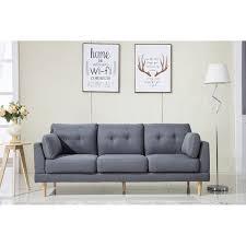 Madison Home USA Mid Century Modern Ultra Plush Linen Fabric Sofa - Fabric modern sofa