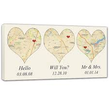 wedding gift anniversary heart shaped map canvas with your 3 location heart map
