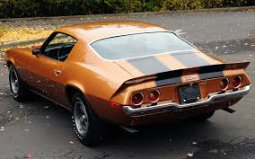chevrolet camaro z28 1971 chevrolet camaro coupe rear view orange
