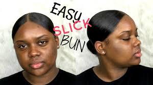 middle part bun super duper slick middle part bun easy slick bun youtube