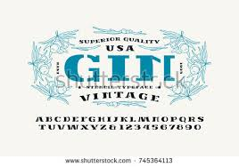 stencilplate serif font gin label template stock vector 745364113