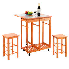 rolling kitchen island trolley cart with 2 stools kitchen
