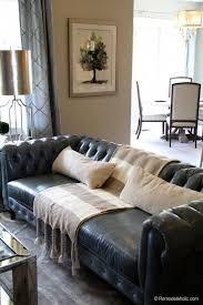 Tufted Faux Leather Sofa Living Room Sofa Remodelaholic Favorites Pinterest Living