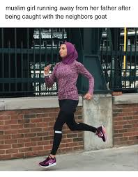 Girl Running Meme - muslim girl running away from her father after being caught with