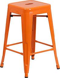 indoor outdoor counter height stool flash furnitur amazon com flash furniture 24 high backless orange metal indoor