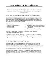 Accounts Payable And Receivable Resume Killer Resume Resume Templates