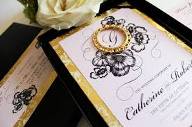 Golden Wedding Invitation Cards Blush Pink Gold And Black Boxed Wedding Invitation