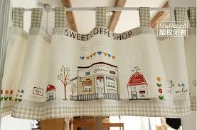 Kitchen Curtain Fabrics Cartoon Cotton Cloth Finished Product Short Curtain Rustic Kitchen