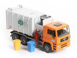 bruder fire truck bruder man tga side loading garbage truck orange white 02761