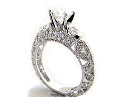 palladium engagement rings palladium filigree pave diamond engagement ring solitaire setting