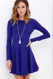 blue dress royal blue dress sleeve dress skater dress 57 00