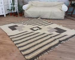 Woven Throw Rugs Scandinavian Rug Wool Area Rug Hand Woven Carpet Rug Throw