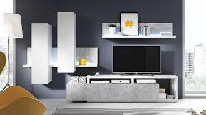 Wohnzimmer Ohne Wohnwand Bota Anbauwand Wohnkombi Wohnzimmer In Weiß Und Beton Mit Led