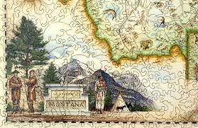 Map Montana Montana Map Wooden Jigsaw Puzzle Liberty Puzzles Made In The Usa