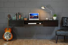 Modern Wall Desk Black Stained Walnut Wood Floating Desk Which Attached On Gray