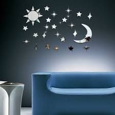 online get cheap silver star wall decor aliexpress com alibaba sun moon star mirror wall stickers home decoration removable silver modern design living room office 3d