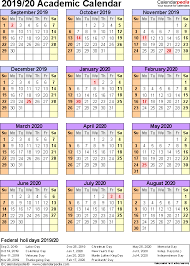academic calendars 2019 2020 as free printable excel templates