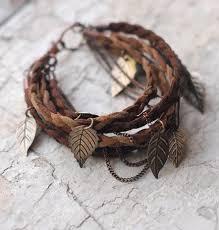 leaf charm bracelet images Leather braid charm bracelet boho brown leather and pewter jpg