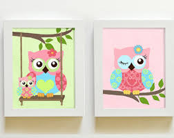 owl decor baby girl owl art nursery decor nursery art set of 3