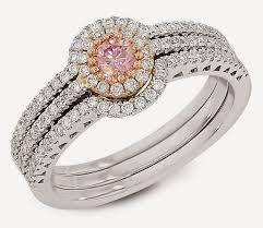 Trio Wedding Ring Sets by Princess Cut Trio Wedding Ring Sets With Pink Diamond Design