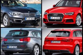 audi a3 vs bmw 3 series photo comparison audi a3 facelift vs bmw 1 series lci