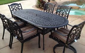 oval aluminum patio table patio dining set 7pc cast aluminum furniture outdoor table chair