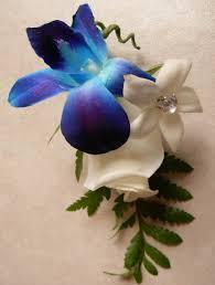 blue boutonniere blue orchid gem boutonniere artemisia floral design