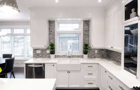 white kitchen cabinets ideas beige stone backspalsh tile