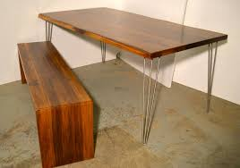 solid walnut dining table walnut dining table matching waterfall bench by wicked hairpins