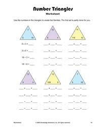 number fact families number triangles multiplication and division fact families
